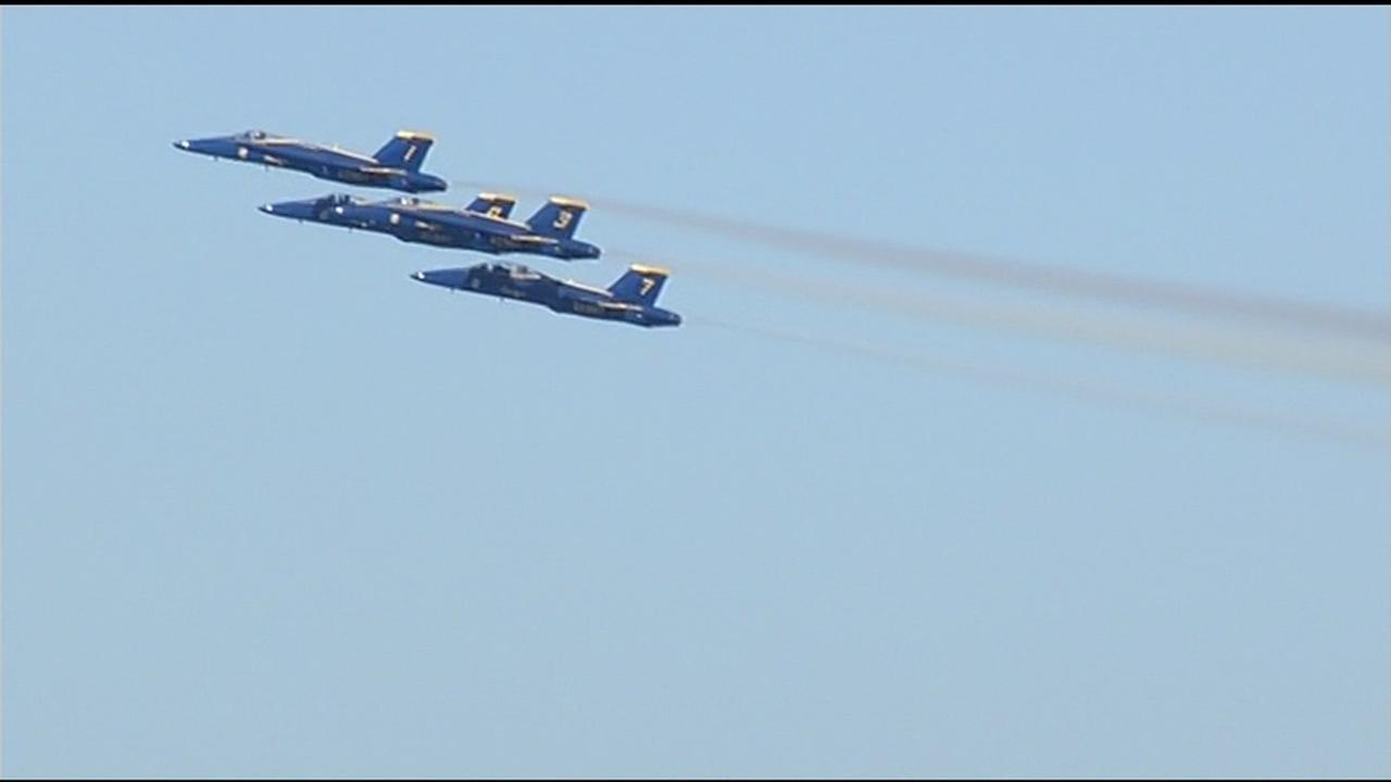 The Fleet Week air show featuring the Navys Blue Angels and other military aircrafts took flight over the San Francisco Bay Friday, October 9, 2015. KGO-TV