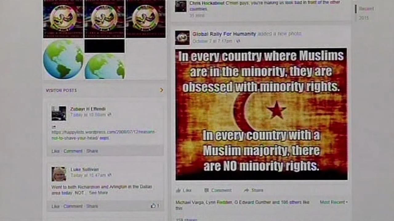 This image from Friday, October 9, 2015 shows the Facebook page of the anti-Muslim group Global Rally for Humanity.