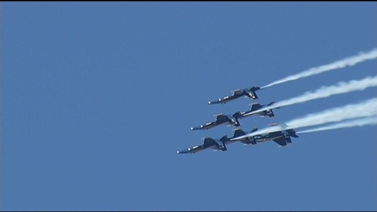 The Fleet Week air show featuring the Navys Blue Angels and other military aircrafts took flight over the San Francisco Bay Friday, October 9, 2015.KGO-TV