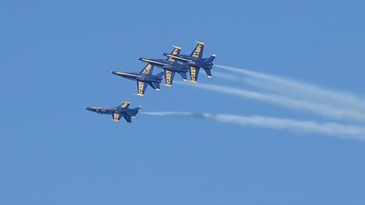The Fleet Week air show featuring the Navys Blue Angels and other military aircrafts took flight over the San Francisco Bay on Friday, October 9, 2015.