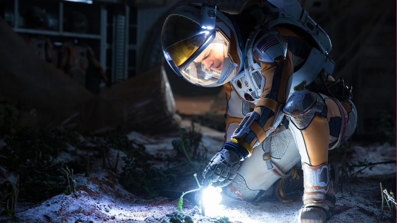 This photo released by 20th Century Fox shows Matt Damon in a scene from the film, The Martian. (Giles Keyte/20th Century Fox via AP)