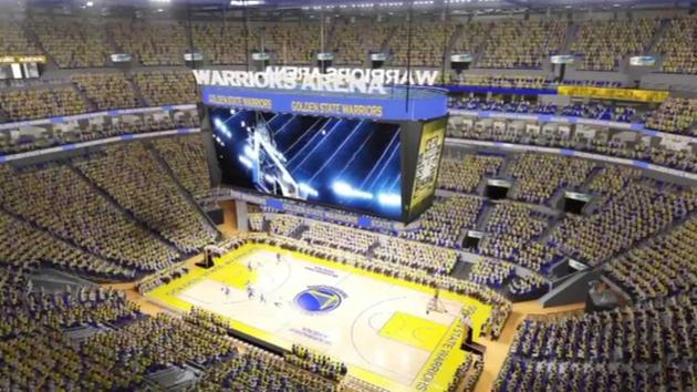 This animation shows what the proposed inside of the new Warriors arena will look like in San Franciscos Mission Bay.