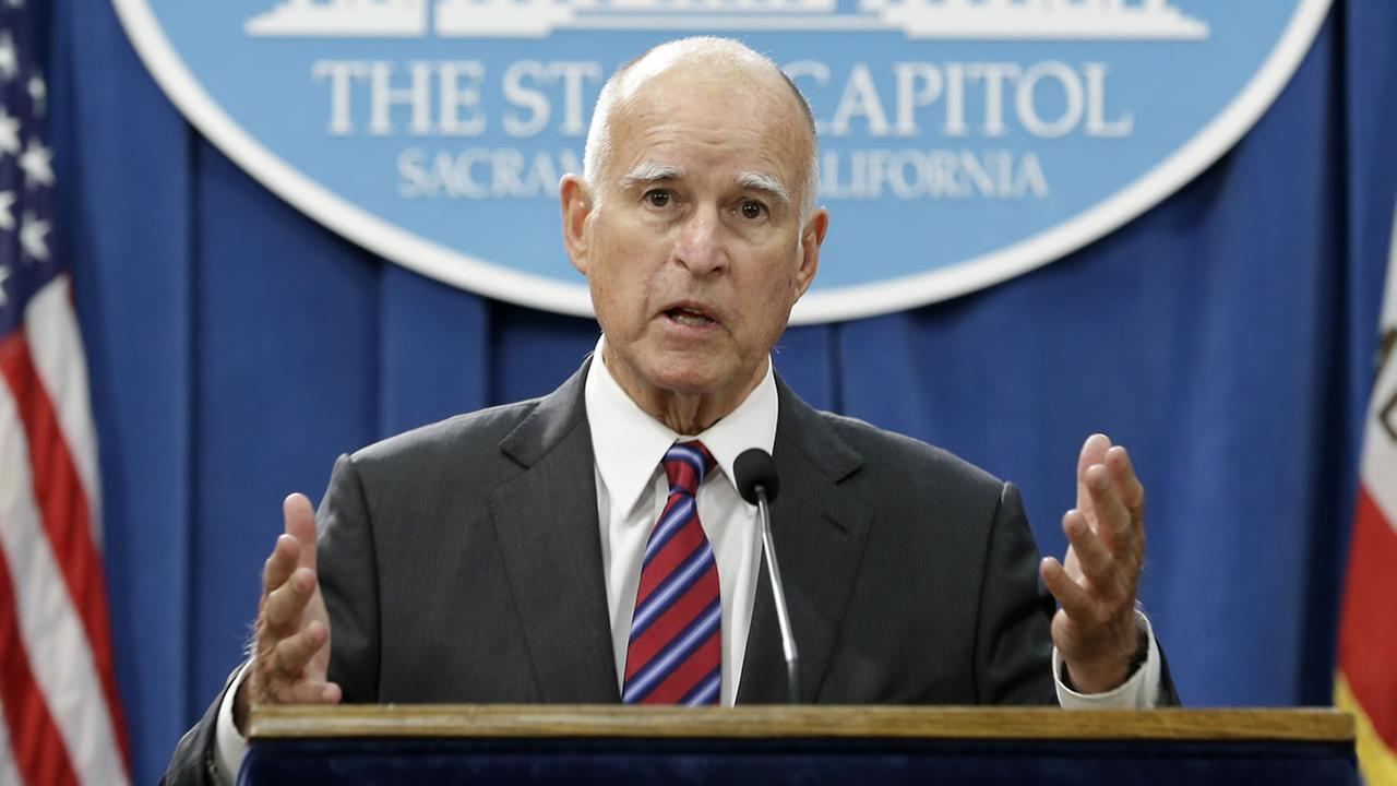 Calif. Gov. Jerry Brown, discusses the scaling back of proposal to address climate change that he supported during a news conference, Wed., Sept. 9, 2015, in Sacramento, Calif.