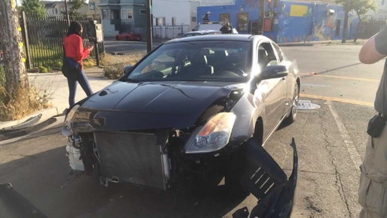This sedan was involved in a collision with Mayor Jean Quan Sunday evening in Oakland.