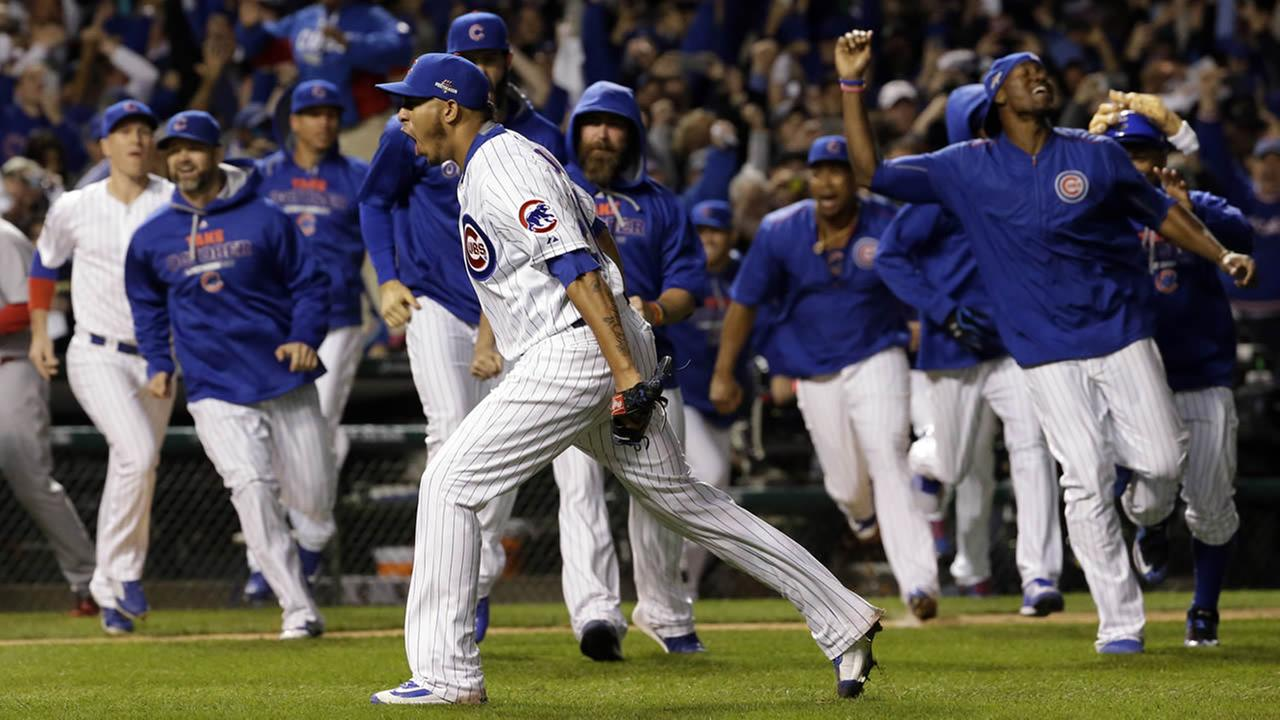 Cubs relief pitcher Hector Rondon celebrates after striking out Cardinals left fielder Stephen Piscotty (55) to win Game 4 in baseballs National League Division Series, Oct. 13, 2015, in Chicago. (AP Photo/Nam Y. Huh)