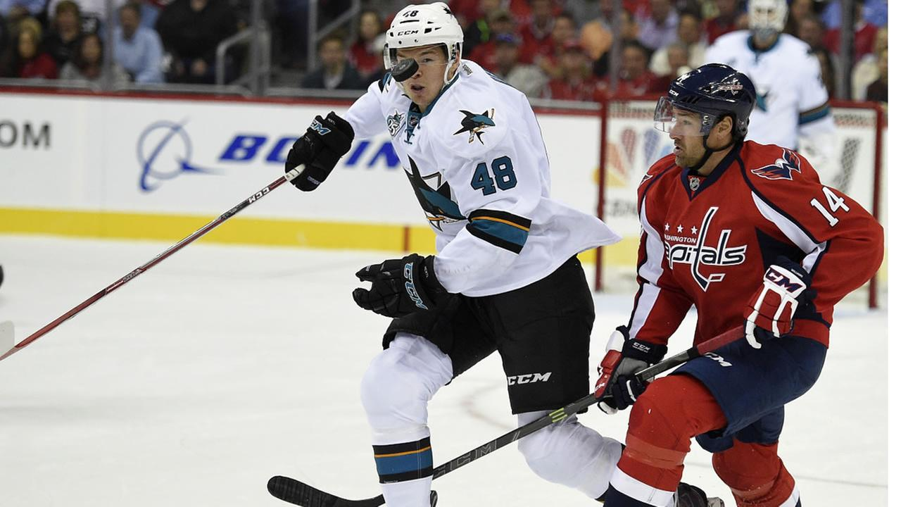 San Jose Sharks center Tomas Hertl chases the puck against Washington Capitals right wing Justin Williams during the first period of an NHL hockey game, Tuesday, Oct. 13, 2015.
