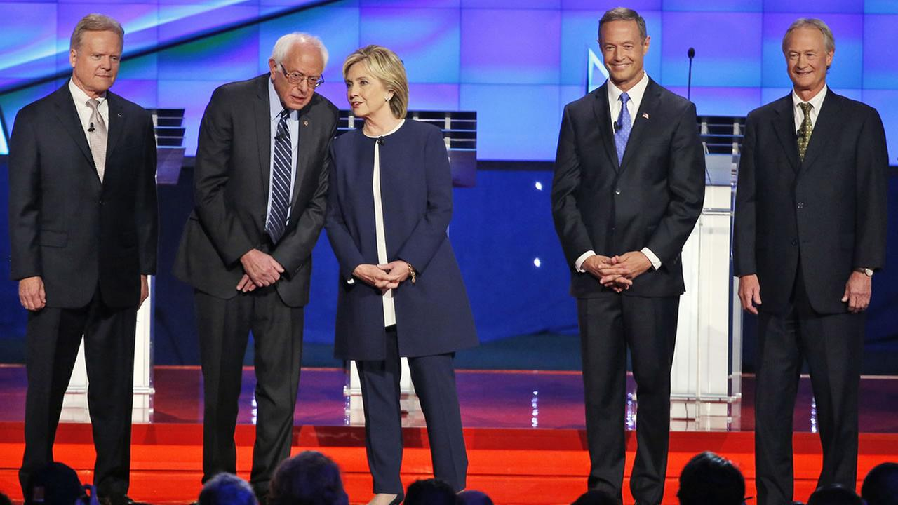 From left, Jim Webb, Bernie Sanders, Hillary Rodham Clinton, Martin OMalley, and Lincoln Chafee onstage before the CNN Democratic presidential debate on Oct. 13, 2015, in Las Vegas. (AP Photo/John Locher)