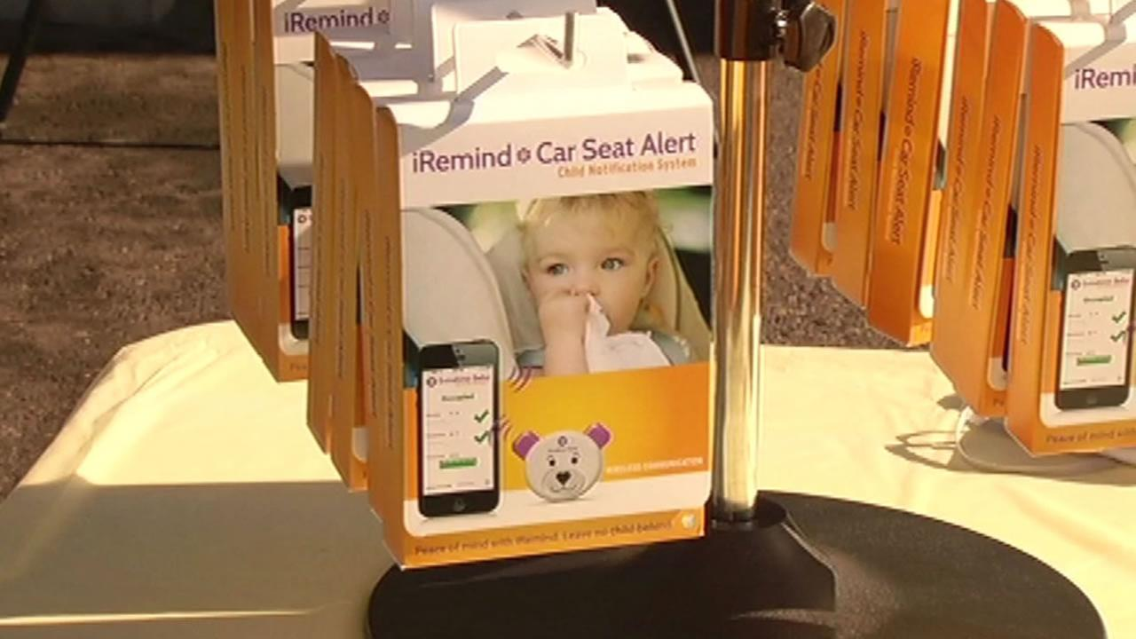 A San Jose woman held a product launch for iRemind, a car seat alarm system to remind parents they left their child in the car.