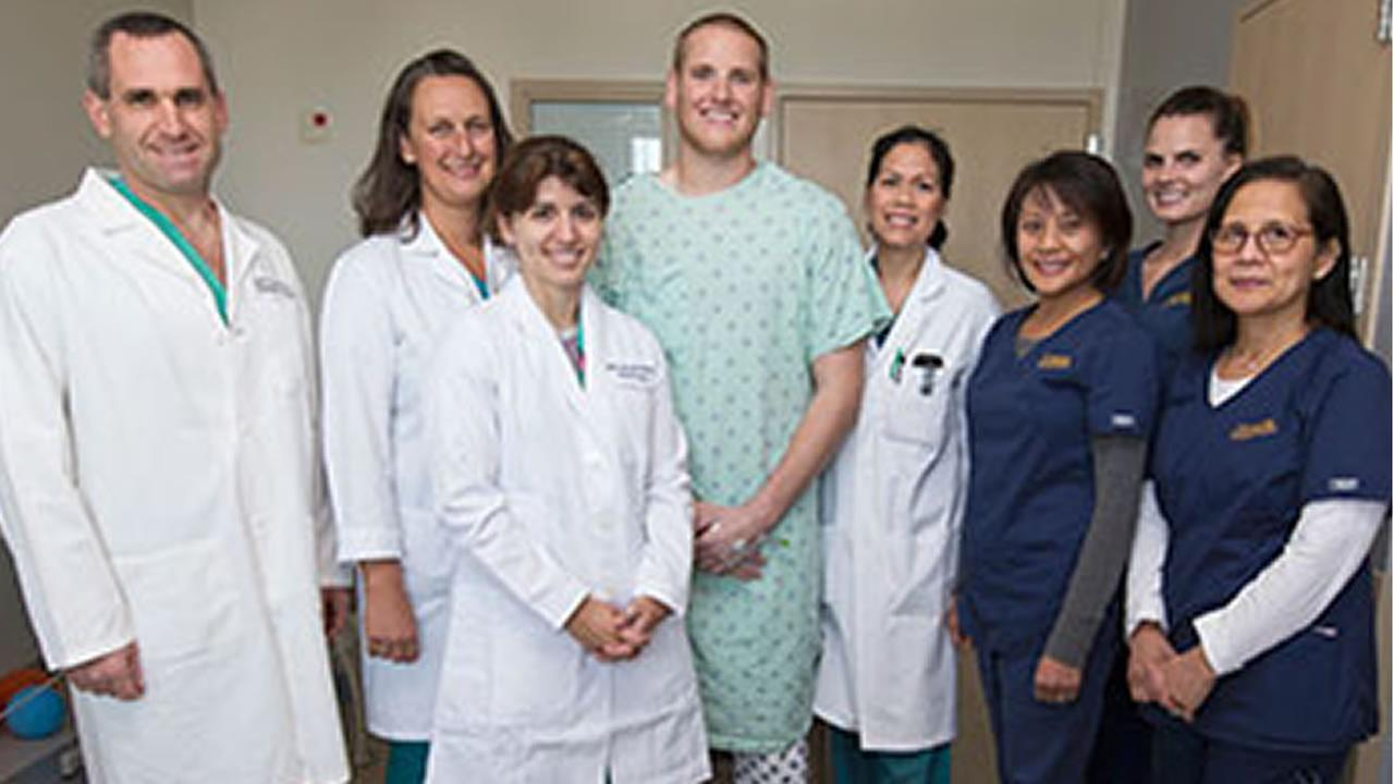 UC Davis Medical Center released this photo of U.S. Air Force Airman Spencer Stone and staff. The train attack hero was released from the hospital on October 15, 2015.