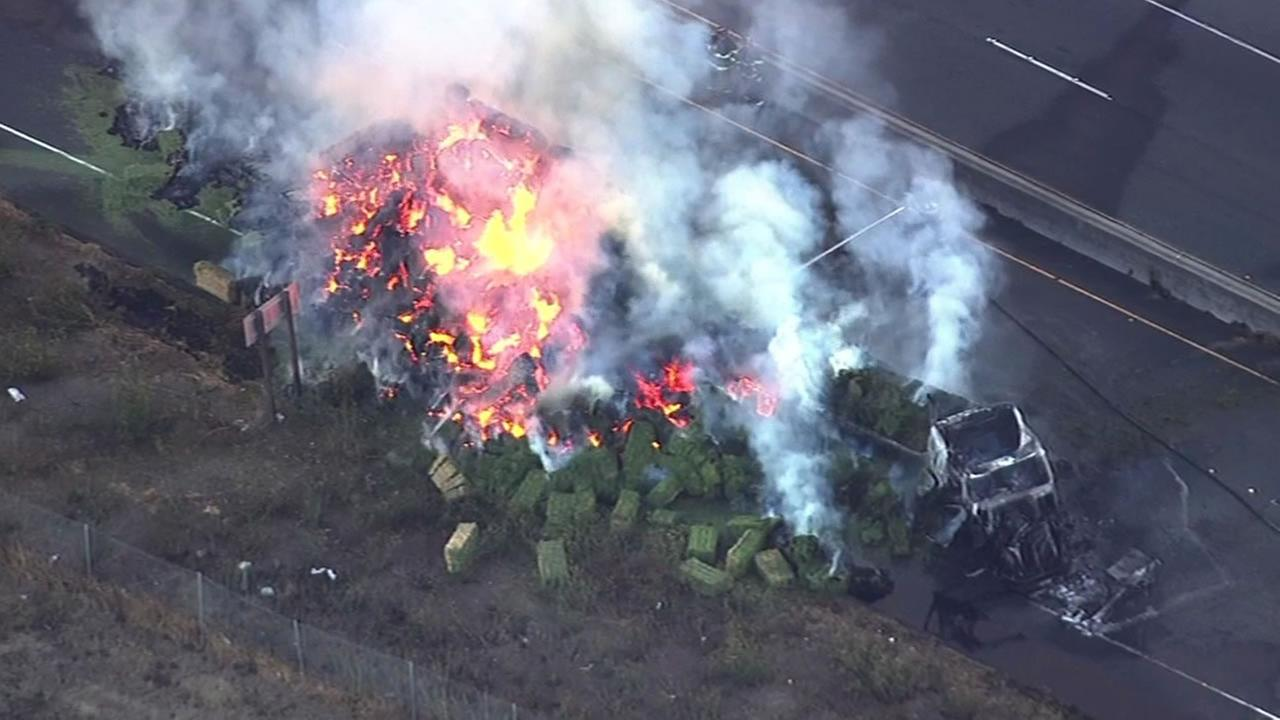 A big rig crash and fire on Highway 37 in Vallejo, Calif. occurred just before 7 a.m. Friday, October 16, 2015.