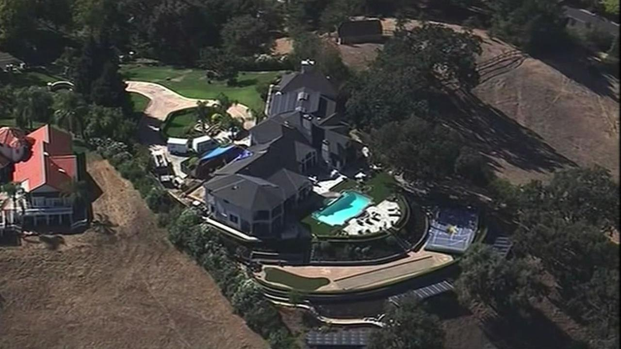 Sky7 HD flew over Oakland As executive Billy Beanes home in Danville after he was listed as one of the top water users in Contra Costa and Alameda counties, Oct. 16, 2015.
