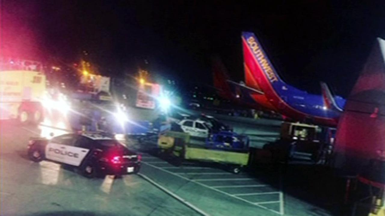 Southwest flight 2010 bound for SFO delayed for hours after passenger disturbance, Monday, October 19, 2015.
