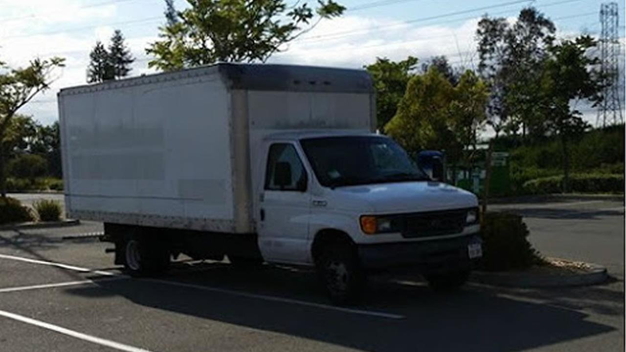 This undated image shows a box truck that a Google employee is living in to save money.