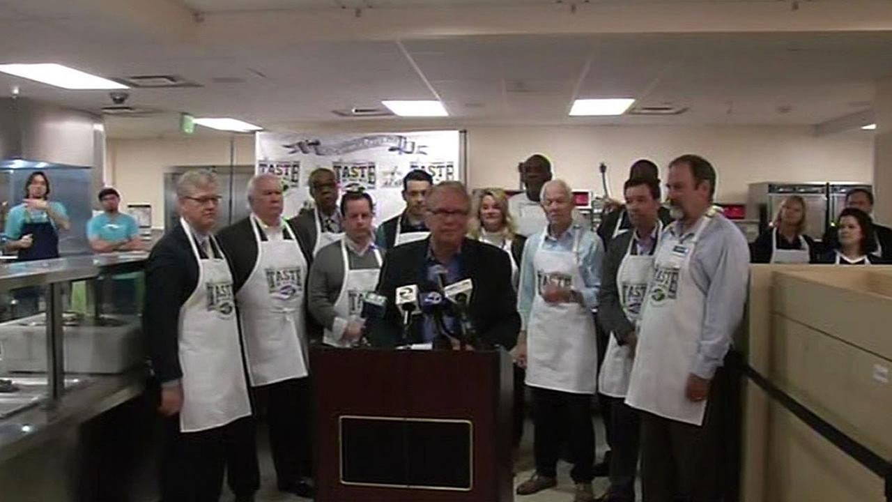 major announcement by Super Bowl committee took place in soup kitchen