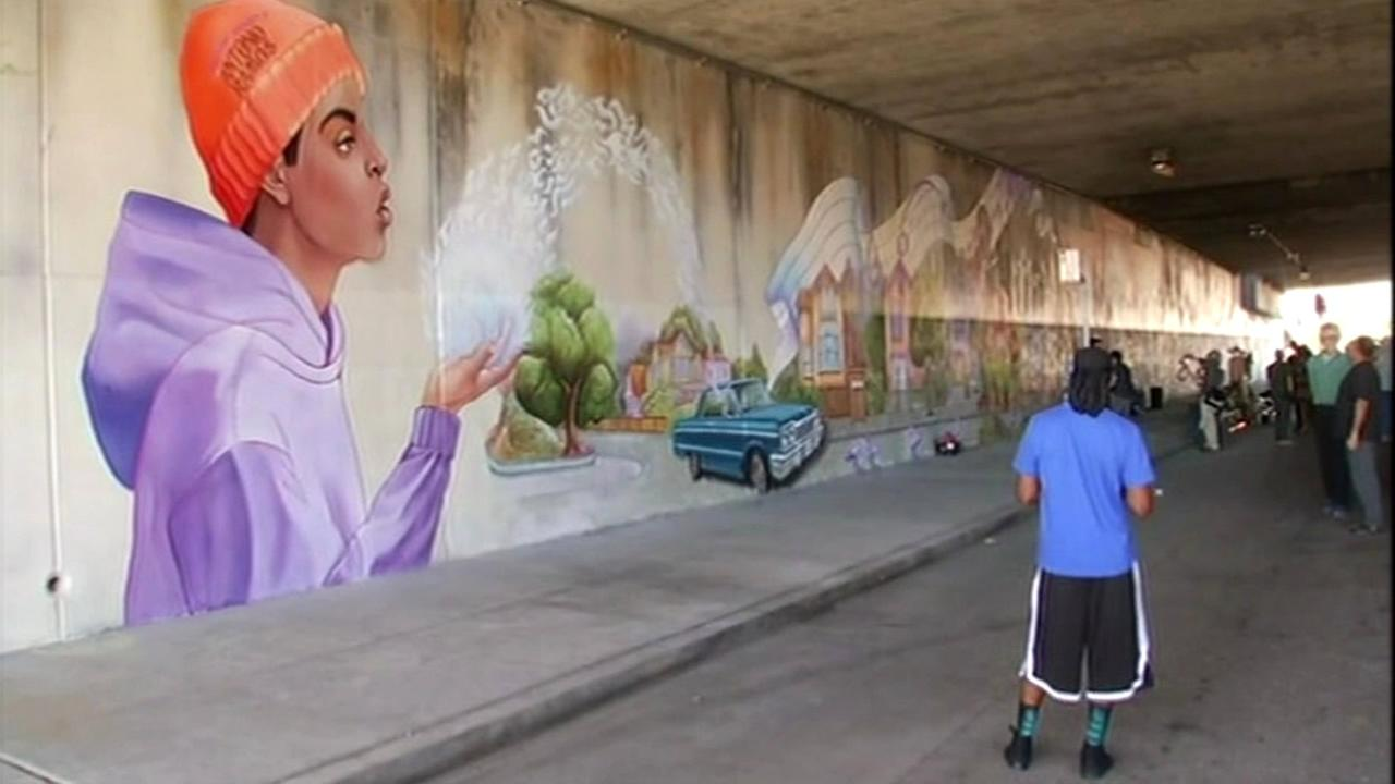A mural was dedicated in West Oakland, Calif. on Wednesday, October 21, 2015 to Antonio Ramos, an artist who was shot and killed while working on the project.