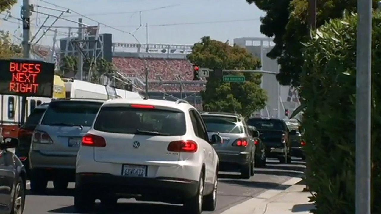 Traffic headed to Levis Stadium in Santa Clara, Thursday, October 22, 2015.
