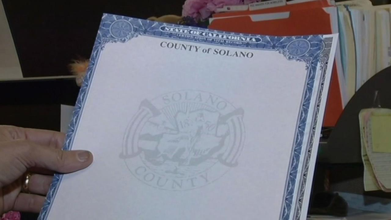 Solano County has nearly run out of the official paper it uses for death certificates and marriage licenses after the company that provides it went out of business.