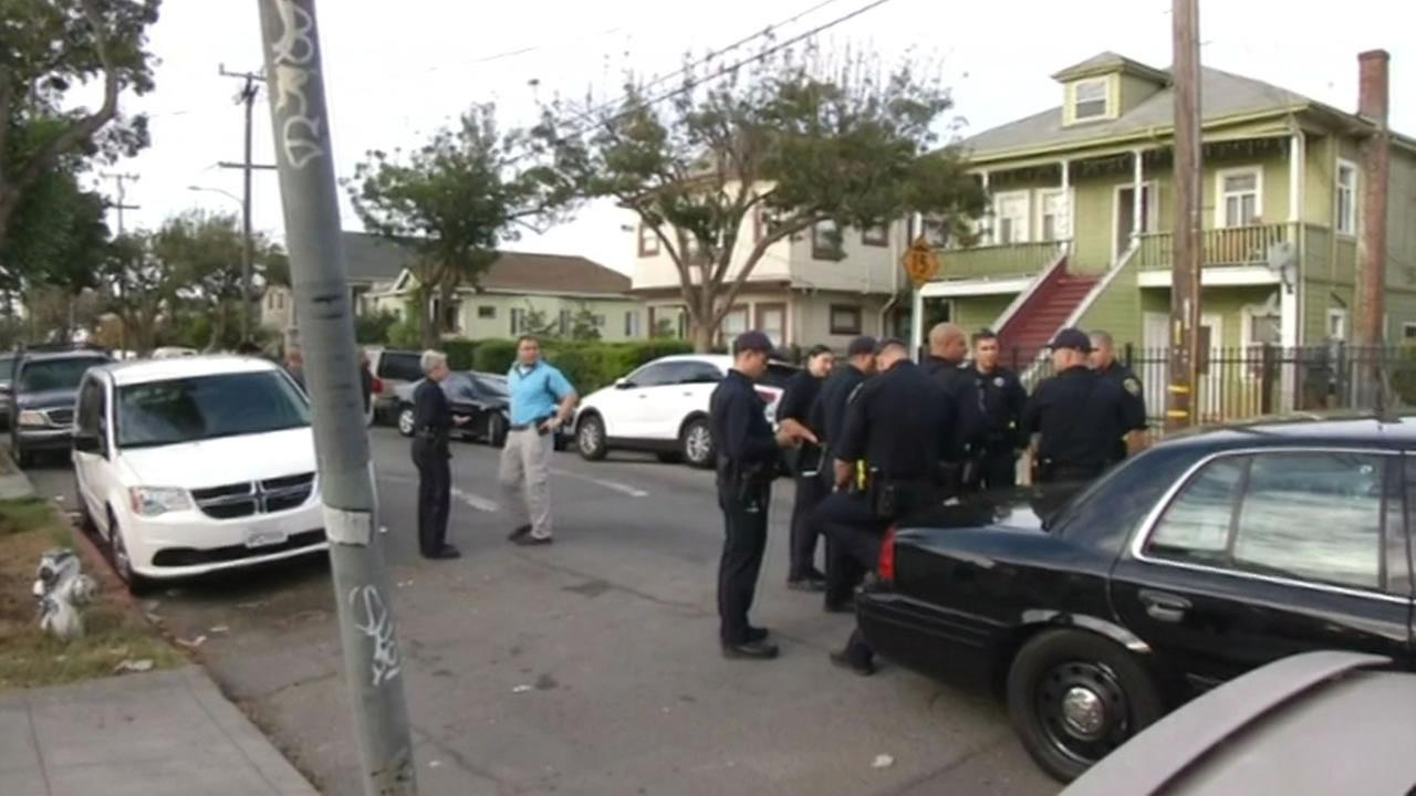 A hundred officers, including Oakland police and the FBI, moved in on a number of locations around Oakland on Friday, October 23, 2015.
