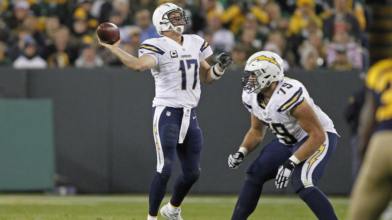 San Diego Chargers quarterback Philip Rivers passes against the Green Bay Packers during an NFL football game Sunday Oct. 18, 2015, in Green Bay, Wis.
