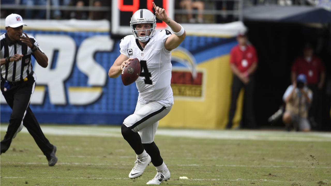 Raiders Derek Carr gestures as he looks to throw a pass during the first half of an NFL football game against the Chargers Sunday, Oct. 25, 2015, in San Diego. (AP Photo)