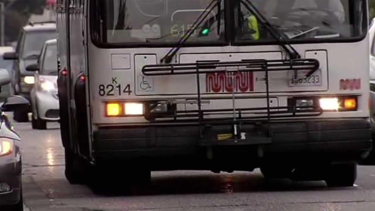 A San Francisco Muni bus drives down Lombard Street, Oct. 27, 2015.