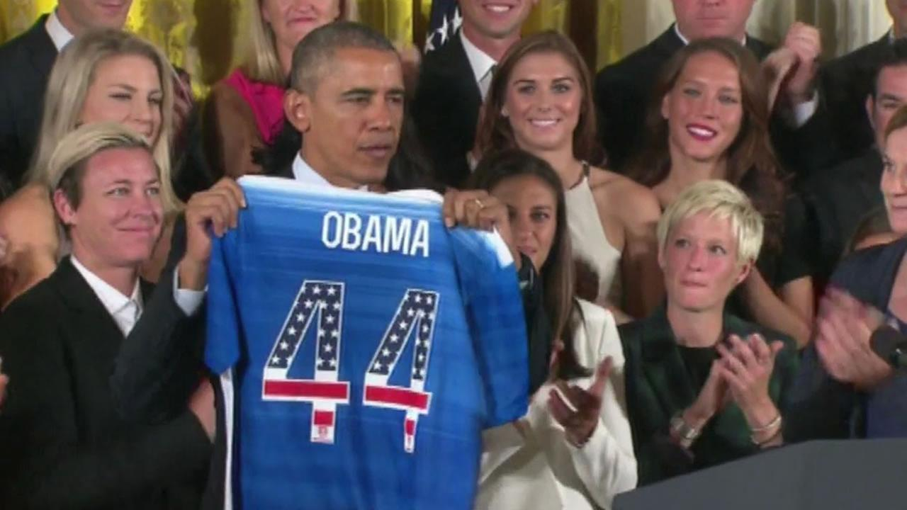 President Obama received a jersey from the United States Womens Soccer Team at the White House on Tuesday, October 27, 2015.