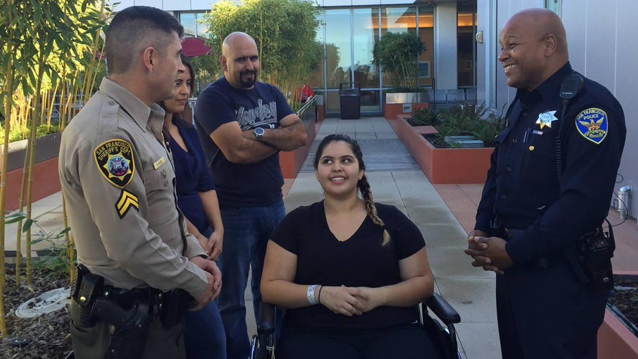 On October 29, 2015 in Vallejo, Calif., Briana Vargas reunited with the San Francisco cop and deputy sheriff who rescued her from a burning car.