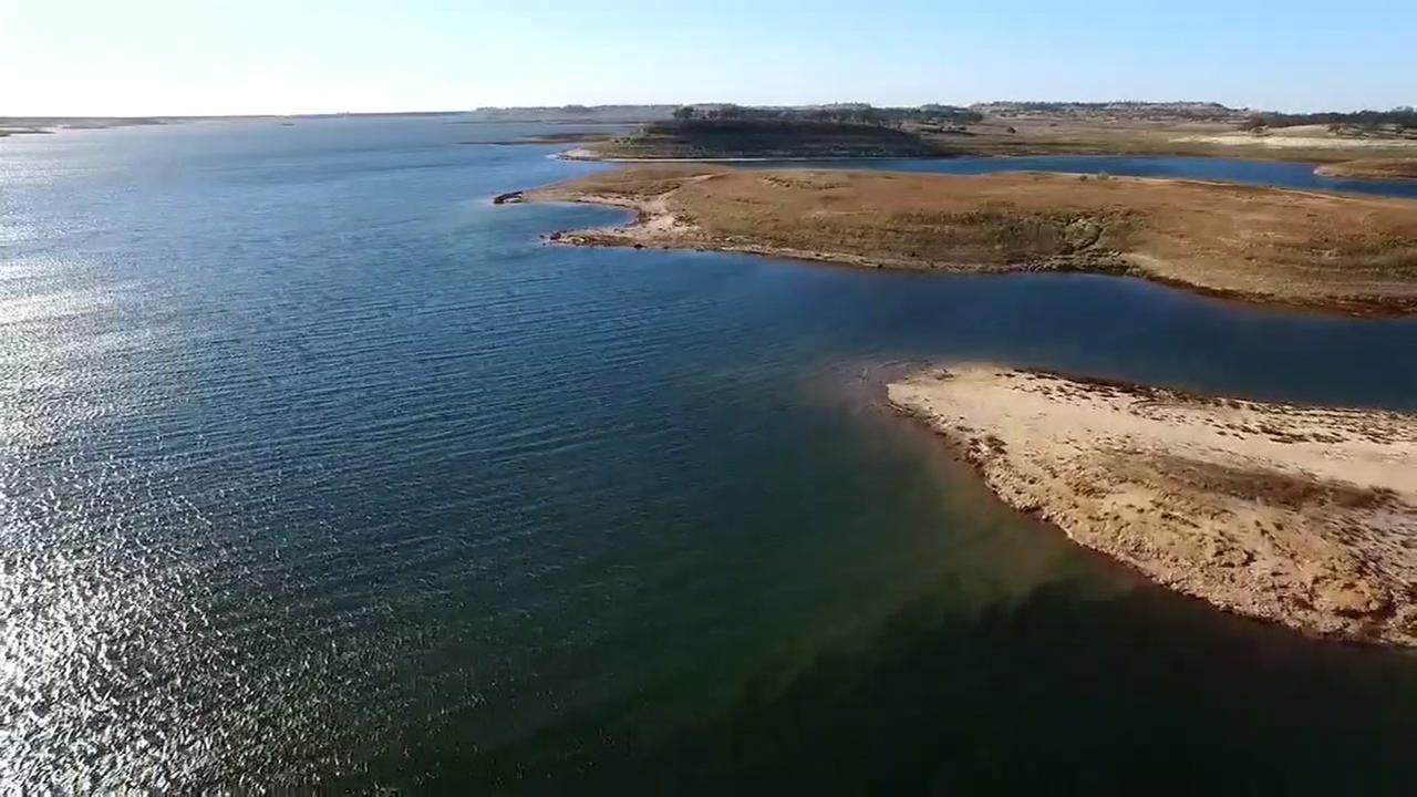 This image taken from DroneView7 shows a parched Camanche Reservoir near Stockton, Calif. on Thursday, October 29, 2015.KGO-TV
