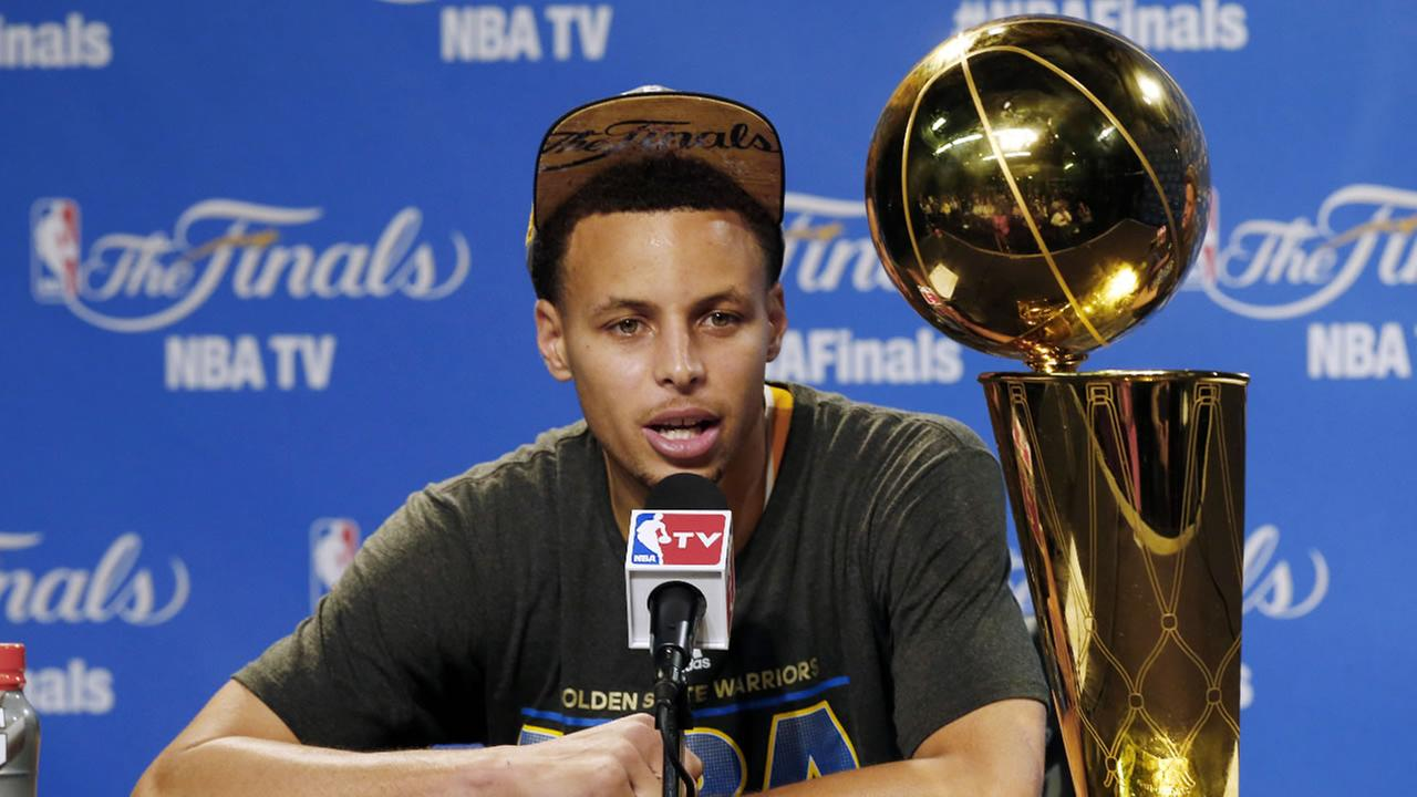 Stephen Curry at a news conference after Game 6 of basketballs NBA Finals against the Cleveland Cavaliers, in Cleveland, Wednesday, June 17, 2015.