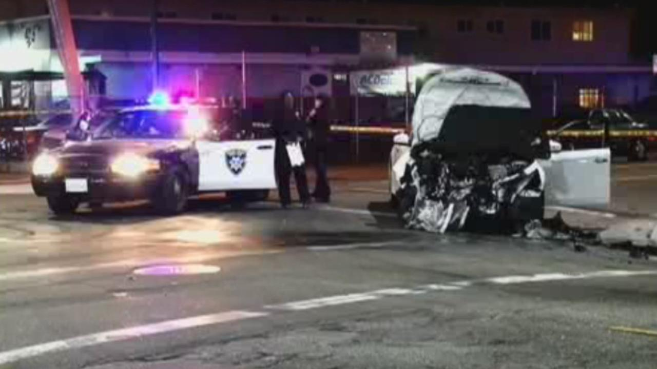 Police investigate a fatal hit-and-run crash in Oakland, Calif. on Saturday, Oct. 31, 2015.