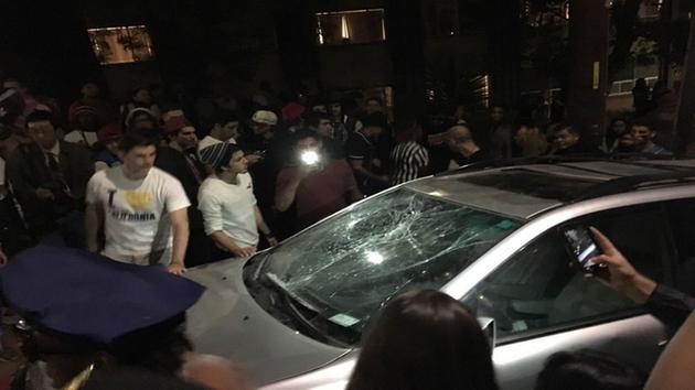 A car windshield is shattered on Telegraph Avenue, near Channing Way and Durant Avenue in Berkeley, Calif.s Southside neighborhood on Saturday, October 31, 2015.