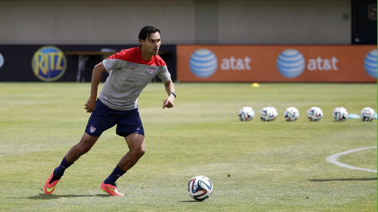 United States Chris Wondolowski looks to pass during a training session in preparation for the World Cup soccer tournament. (AP Photo/Marcio Jose Sanchez)