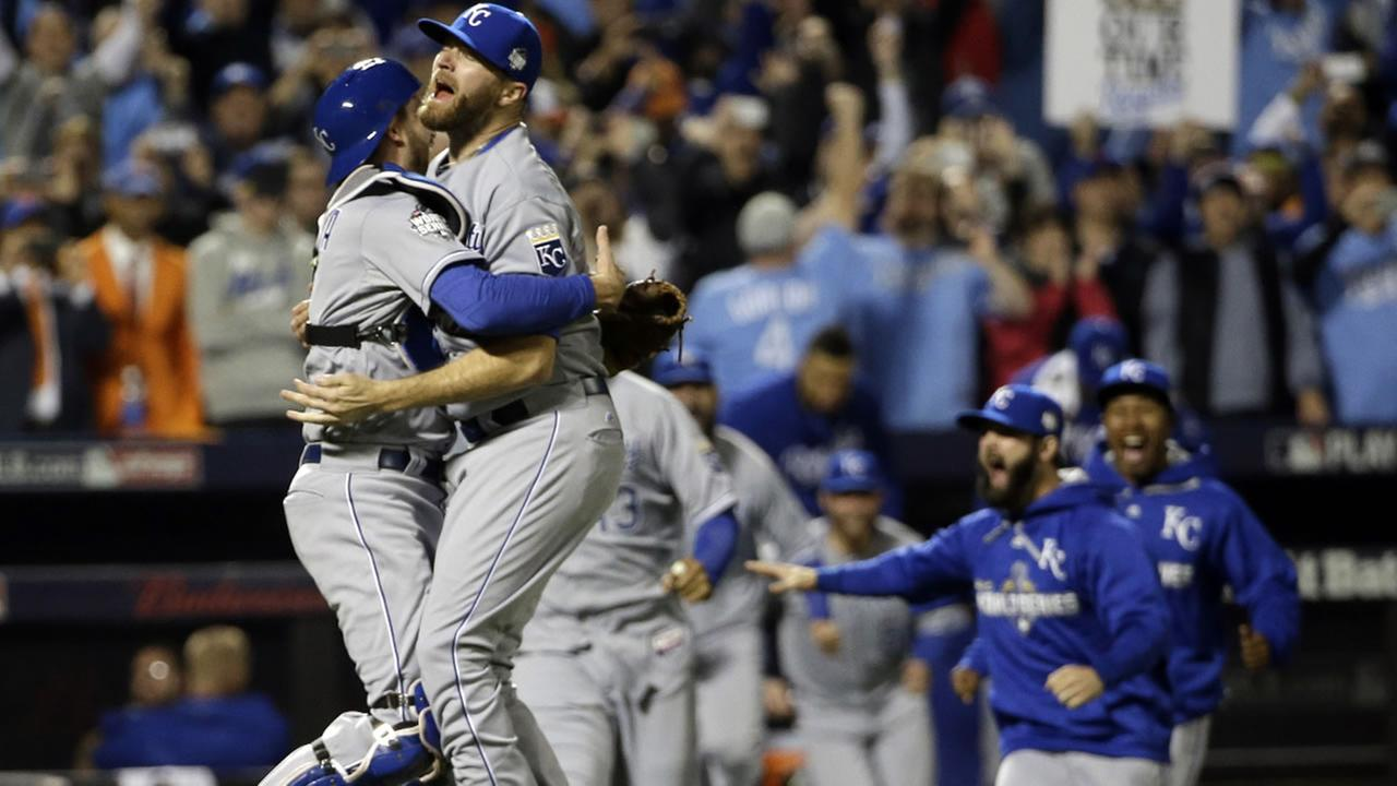 Royals catcher Drew Butera and Wade Davis celebrate after Game 5 of the MLB World Series against the New York Mets Monday, Nov. 2, 2015, in New York. (AP Photo/David J. Phillip)