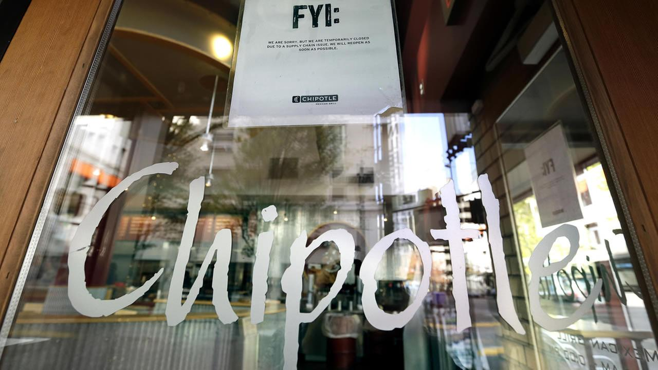 A sign posted on the door of a Chipotle restaurant in Portland, Ore. reads temporarily closed due to a supply chain issue, on Monday, Nov. 2, 2015. (AP Photo/Don Ryan)