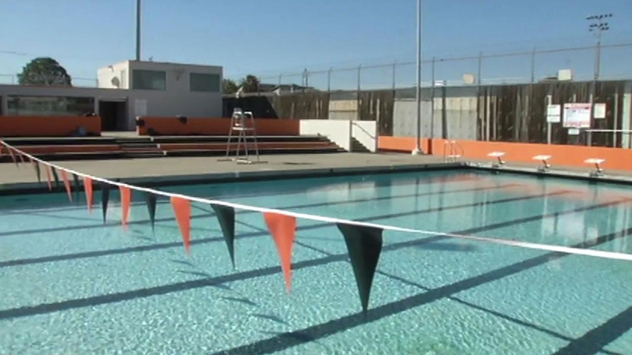 The swimming pool at McClymonds High School in West Oakland, Calif. reopened Tuesday, November 3, 2015.