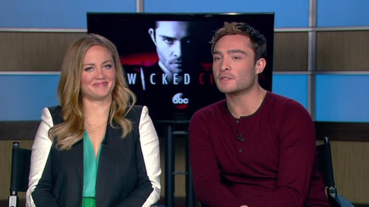 In this undated image, Wicked City stars Erika Christensen and Ed Westwick chat with ABC7 News reporter Leyla Gulen.