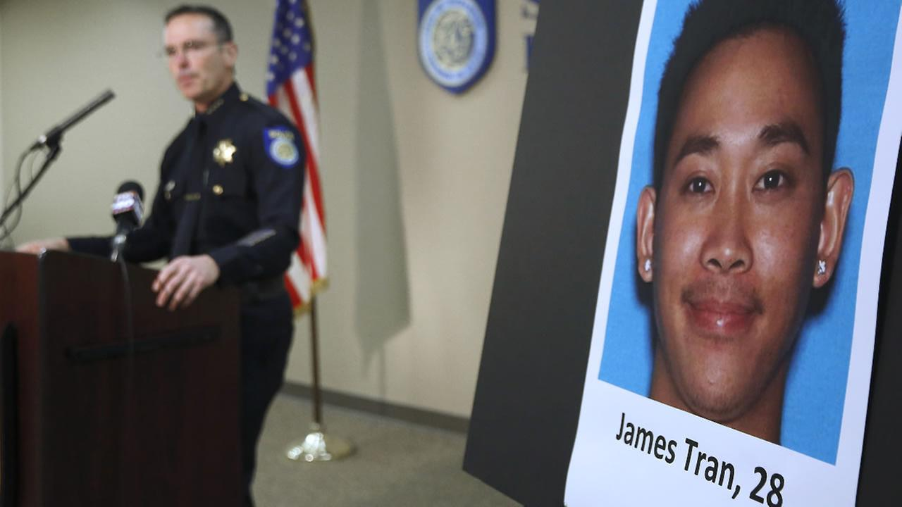 Sacramento Police Chief Sam Somers Jr., left, announces the arrest of James Tran, who is charged with the attempted homicide of Airman 1st Class Spencer Stone in Sacramento, Calif.