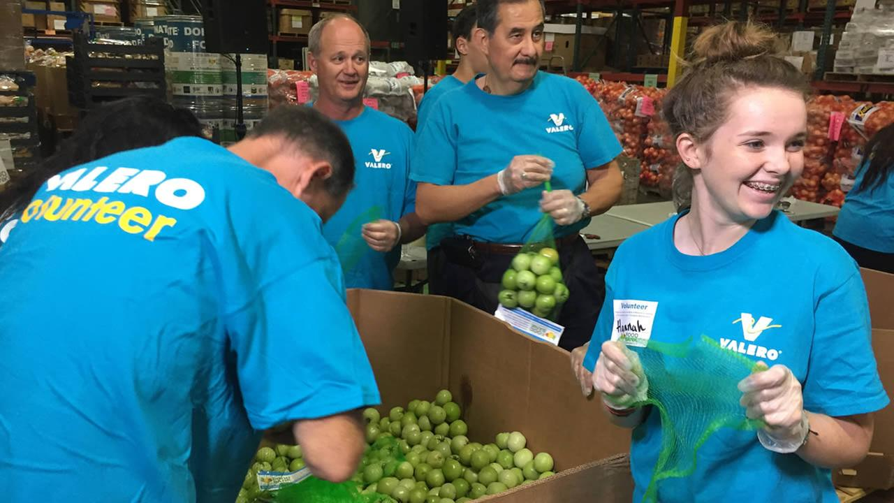 In this image, volunteers are seen packaging fruit at the Food Bank of Contra Costa County and Solano in Concord on Wednesday, November 4, 2015.@foodbankccs/Twitter