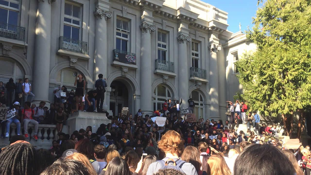 On Thursday, November 5, 2015, Berkeley High School students walked out and protested after a racist message was left on a library computer in Berkeley, Calif.
