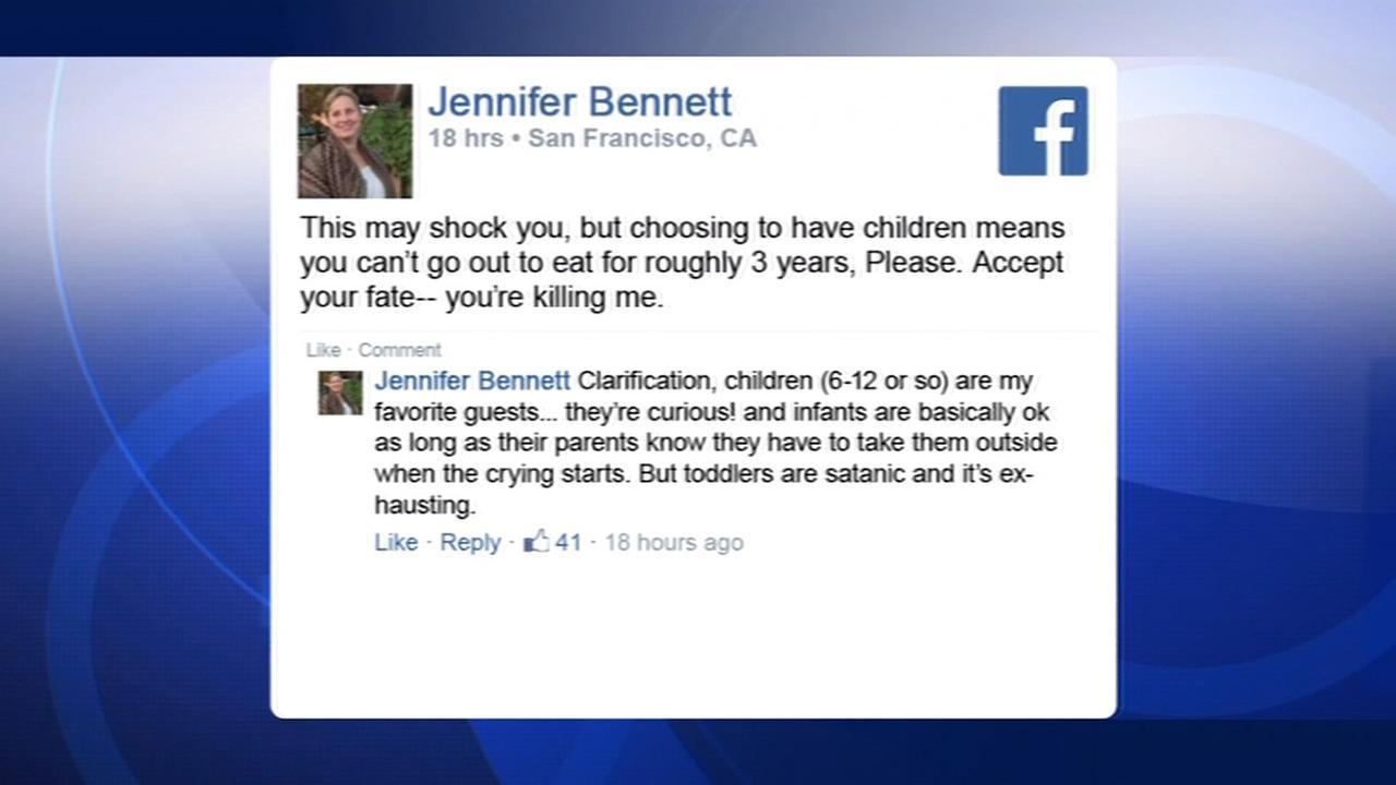 This screenshot shows a Facebook post by Jennifer Bennett Piallat, owner of San Francisco restaurant Zazie.