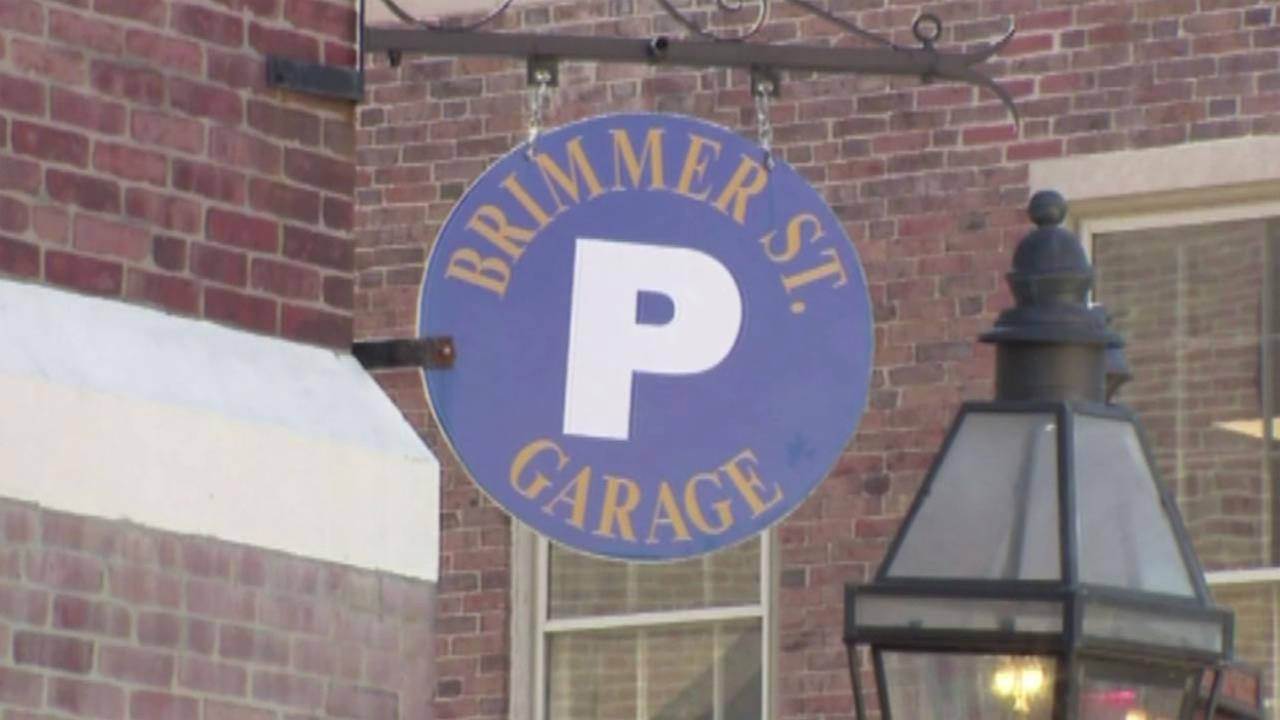 This undated photo shows a single parking spot in the upscale Brimmer Street indoor garage in Boston, Mass., which sells for $650,000.