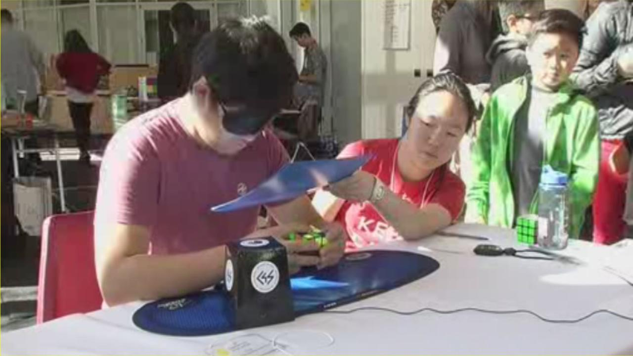 Speed Cubers showed off their incredible speed and fast fingers for top honors in a Rubiks Cube competition on Saturday, Nov. 7, 2015,  in Hayward, Calif.