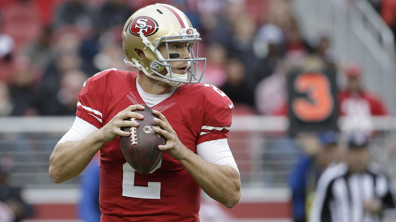 San Francisco 49ers quarterback Blaine Gabbert (2) passes against the Atlanta Falcons during the first half of an NFL football game in Santa Clara, Calif., Sunday, Nov. 8, 2015. (AP Photo/Marcio Jose Sanchez)