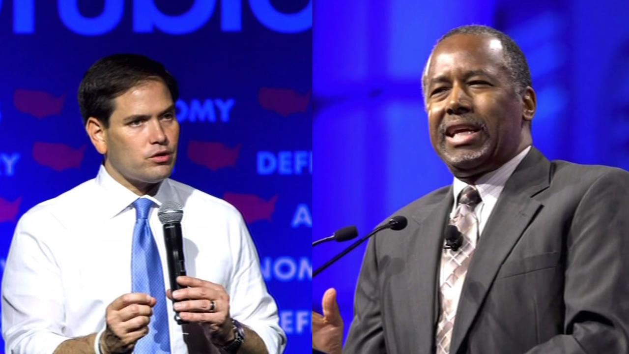 Republican presidential candidates Marco Rubio and Ben Carson