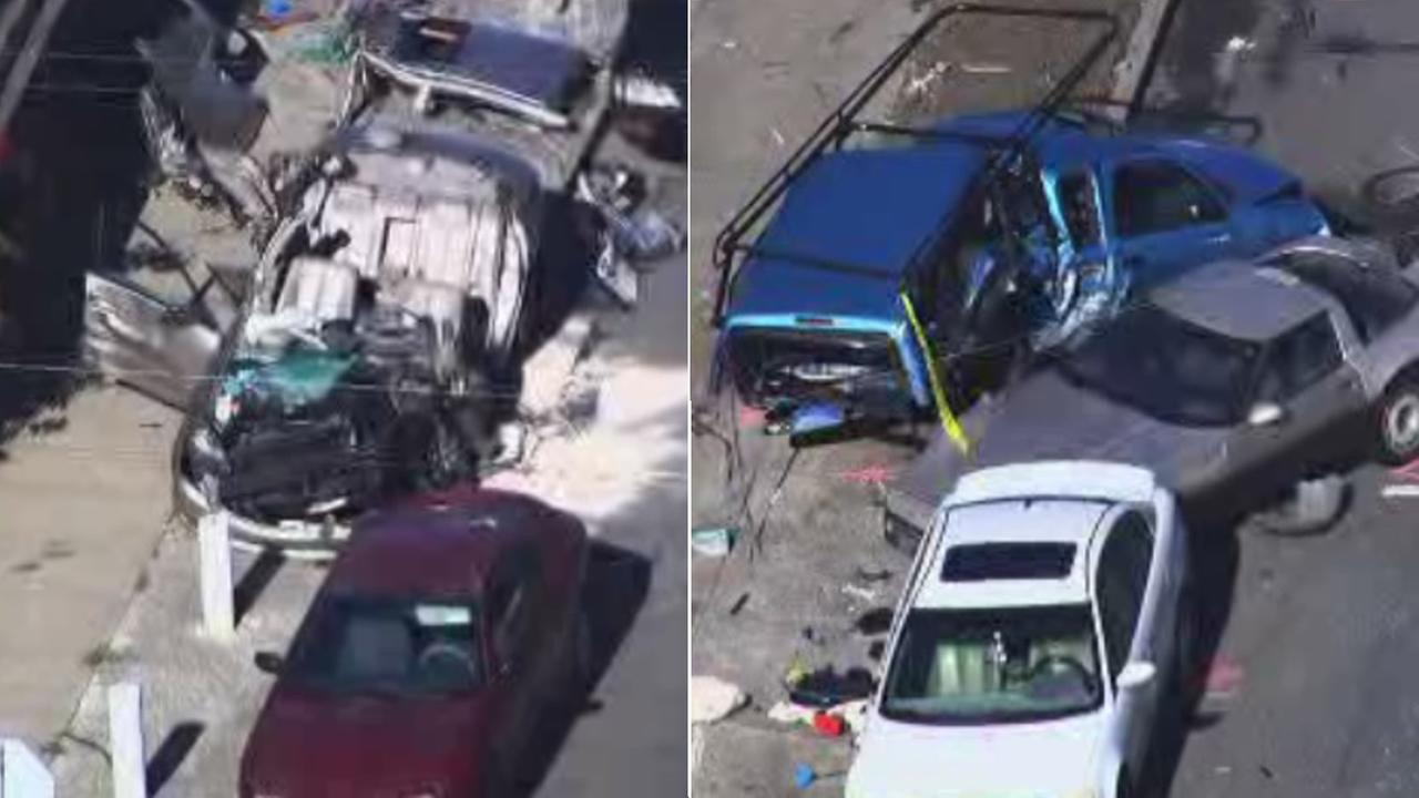 Police were involved in a high-speed chase through Richmond, Calif., that ended after the suspect smashed several cars on Wednesday, November 11, 2015.