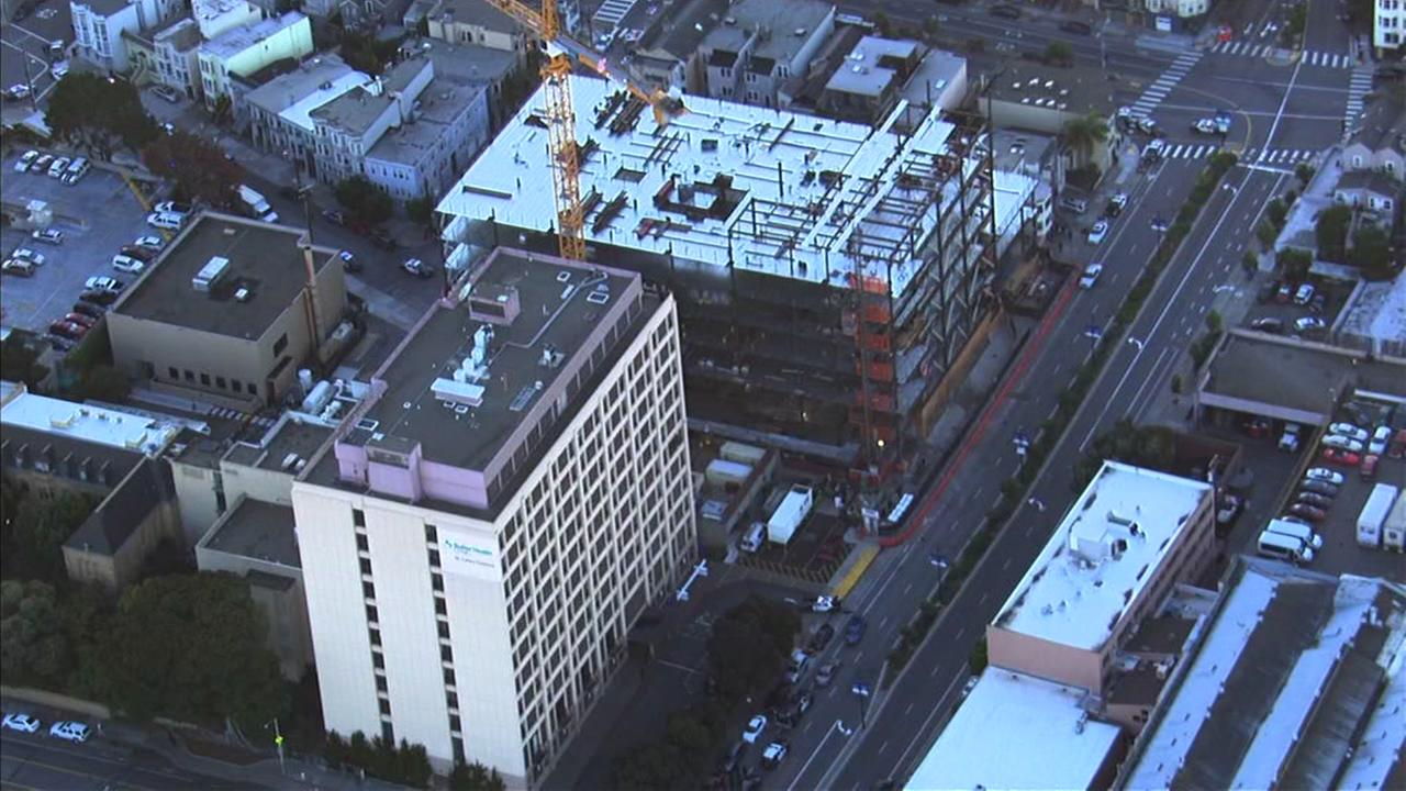 Sky7 HD was over St. Lukes Hospital in San Franciscos Mission District following reports of an officer-involved shooting, Nov. 11, 2015.