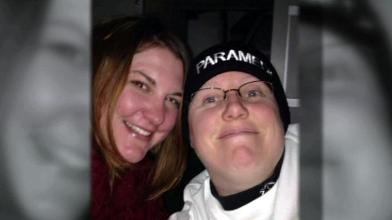 FILE - April Hoagland and Beckie Peirce are seen smiling in this undated image.