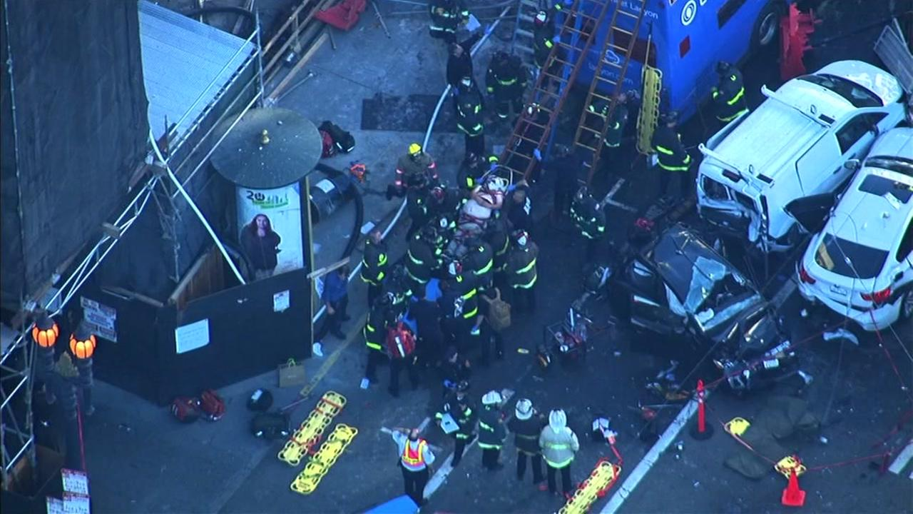 Several injuries reported after a tour bus accident involving several vehicles in the heart of San Franciscos Union Square on Friday, November 13, 2015.KGO-TV
