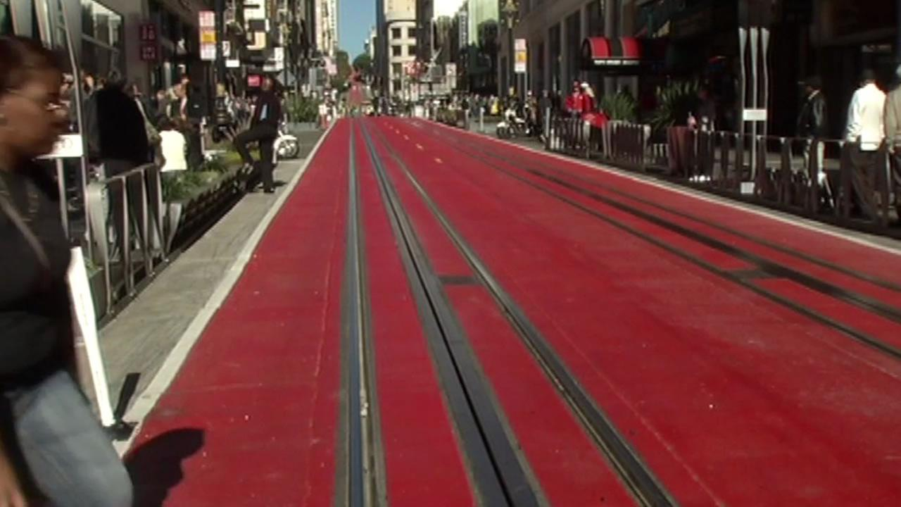 A two-block stretch around San Franciscos Union Square has been painted red, limiting car access for the next 18 months.