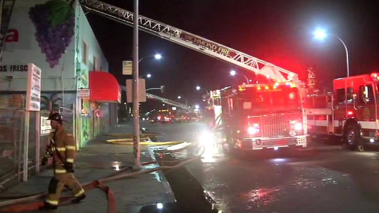 Richmond firefighters have put out a fire at a grocery store on 23rd Street near Barrett Avenue, Monday, November 16, 2015.